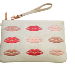 Clutch Embroidered Lip Kiss Rose Gold Zip Wristlet